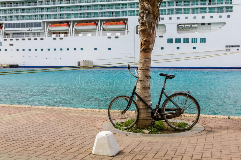 Bike by Palm Tree with Cruise Ship royalty free stock photography