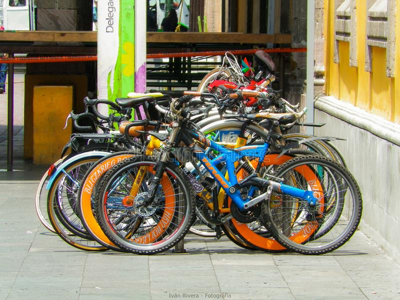 Bike parking lot in Coyoacan, CDMX, Mexico. Brilliant Colors. All in the right place stock images