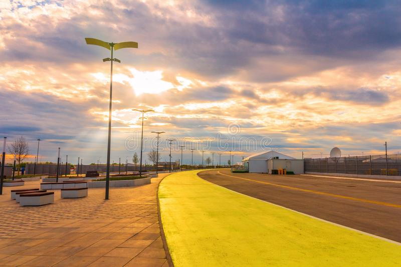 A bike path near a new stadium built for the World Cup. In Samara royalty free stock photography