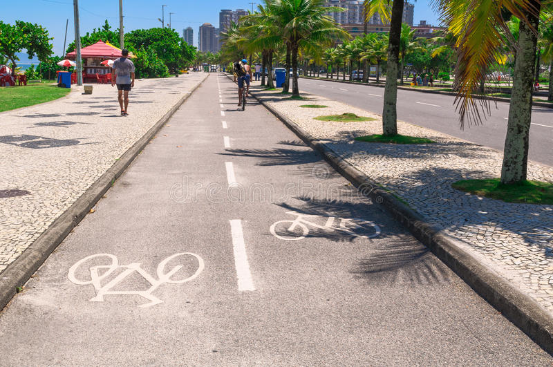 Bike path of seafront in Barra da Tijuca, Rio de Janeiro. Brazil royalty free stock photo