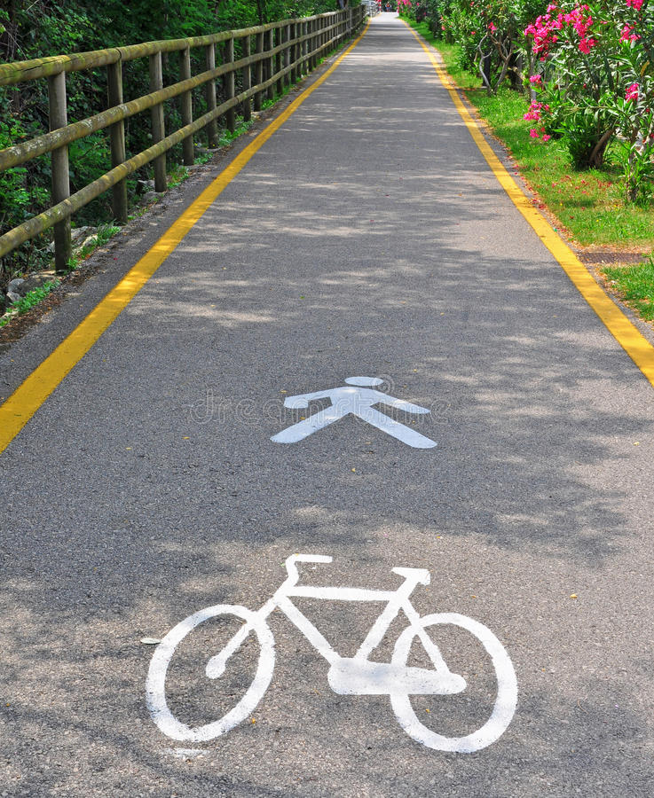Bike And Pedestrian Zone Stock Photo