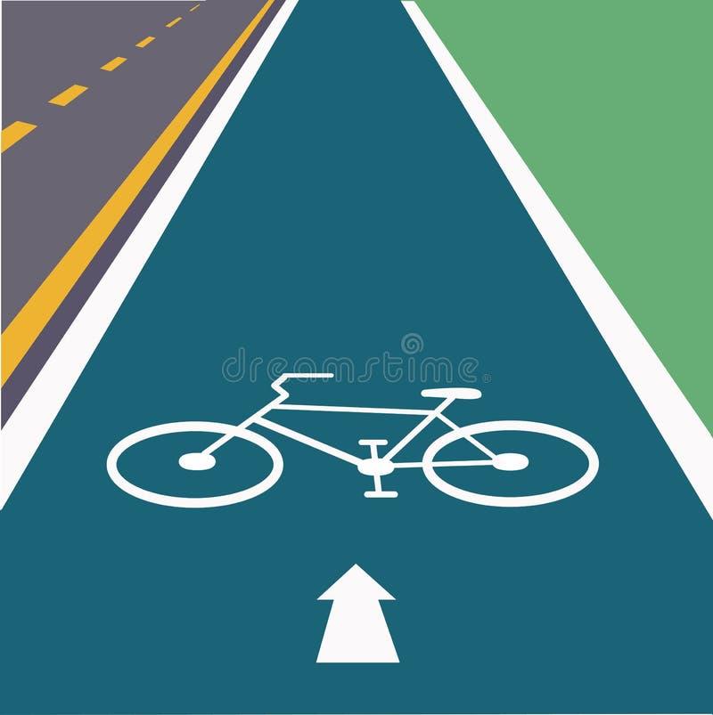 Bike a pista na pista direita da estrada ilustração stock