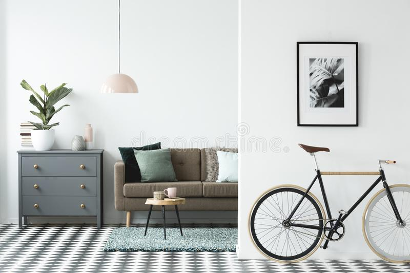 Bike and poster on the wall in a modern living room interior wit. H a chest of drawers, plant and sofa in the background royalty free stock images