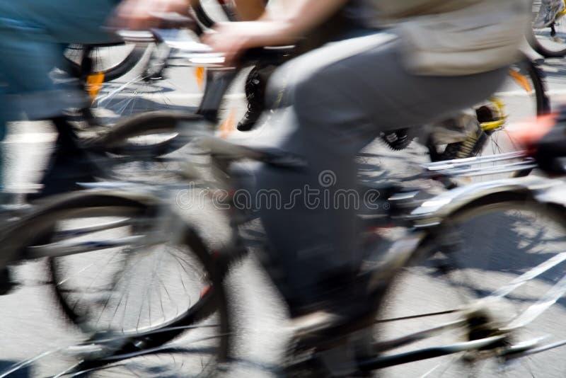 Bike race. Rushing bicycles at urban bike race, motion blur royalty free stock photography
