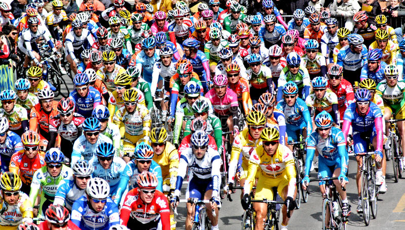 BIKE RACE. Cycling is the sport where bicycle is used. It is controlled by the International Cycling Union UCI. Within the classic sports cycling there are royalty free stock photography