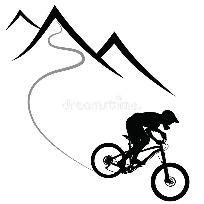 Bike race on a mountain slope -- silhouette.  royalty free illustration
