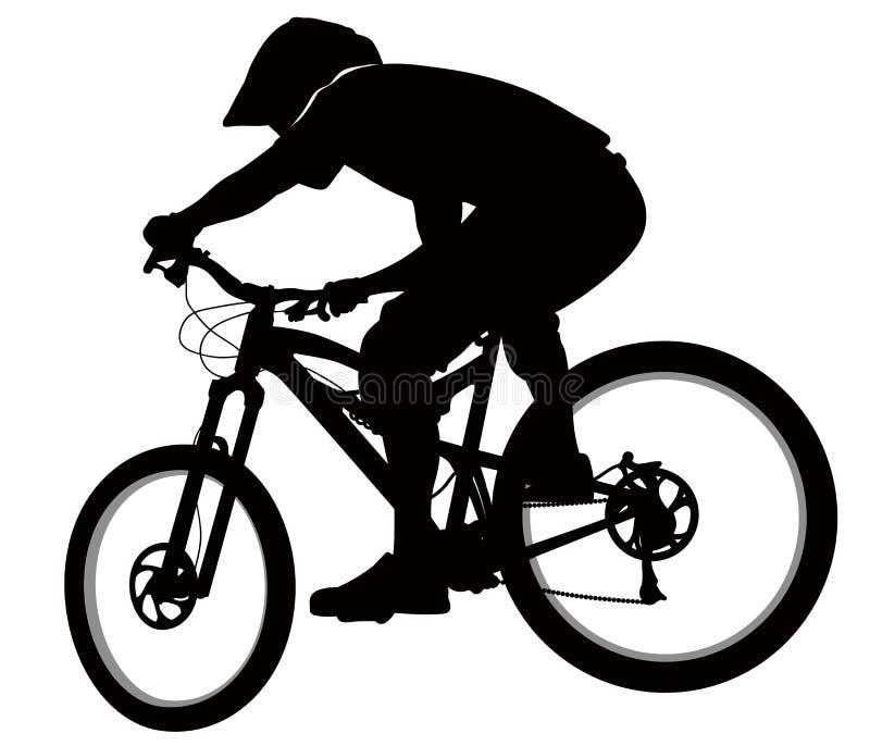 Bike race on a mountain slope -- silhouette. Vector vector illustration