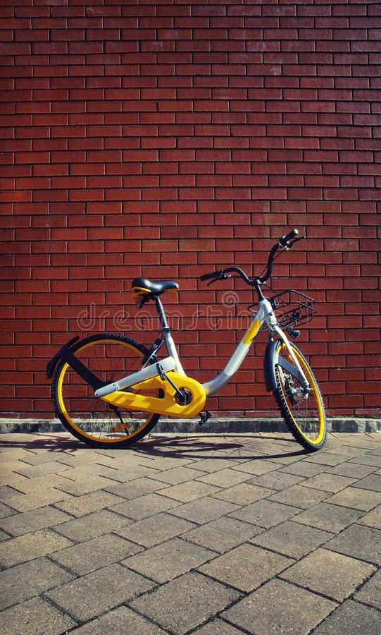 Bike rental. Bike hire in Sydney, Australia. New modern bicycle for hire in the city. Healthy living in the city. Cycling in the streets stock photography