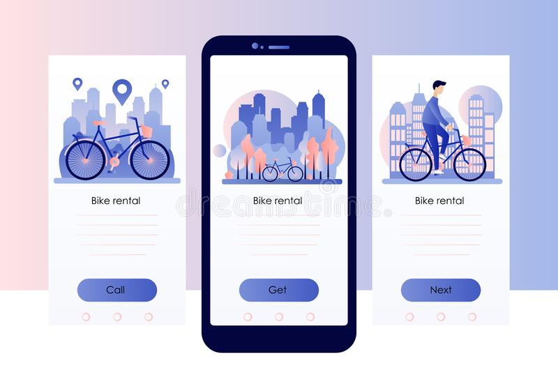 Bike rental. Screen template for mobile smart phone. Background the city with skyscrapers. Flat style. vector illustration