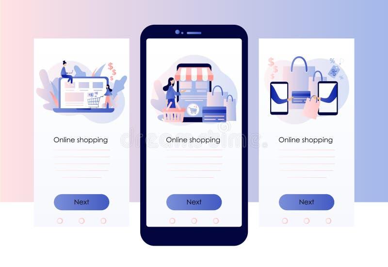 Online shopping. Screen template for mobile smart phone. Flat style. Vector illustration. Online shopping. Screen template for mobile smart phone vector illustration