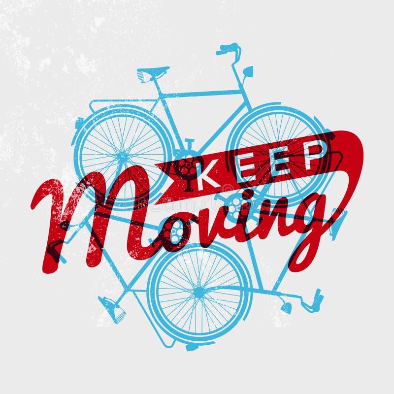 Bike retro grunge outline concept motivation royalty free stock images