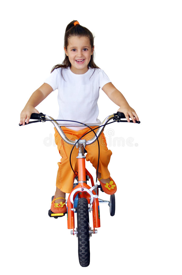 Bike ride. Little girl riding a bicycle