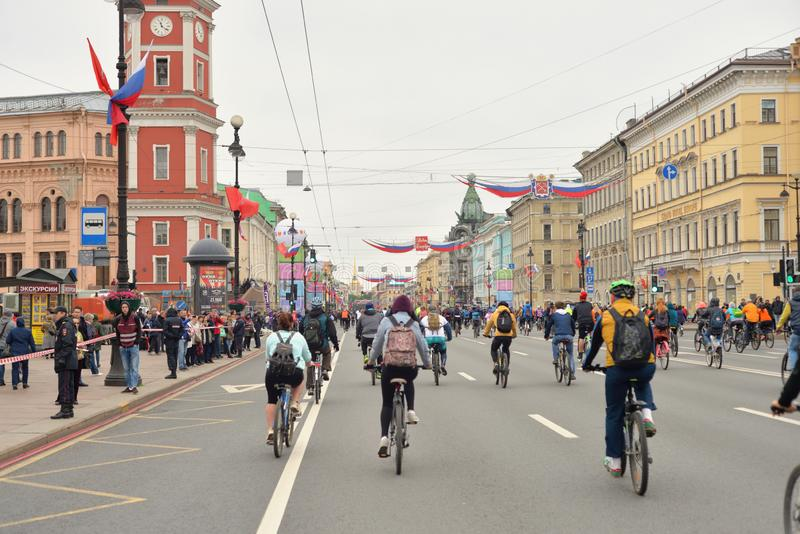 Bike ride on Nevsky prospect. ST.PETERSBURG, RUSSIA - 26 MAY 2019: Bike ride on Nevsky prospect. in the center of St.Petersburg royalty free stock photography