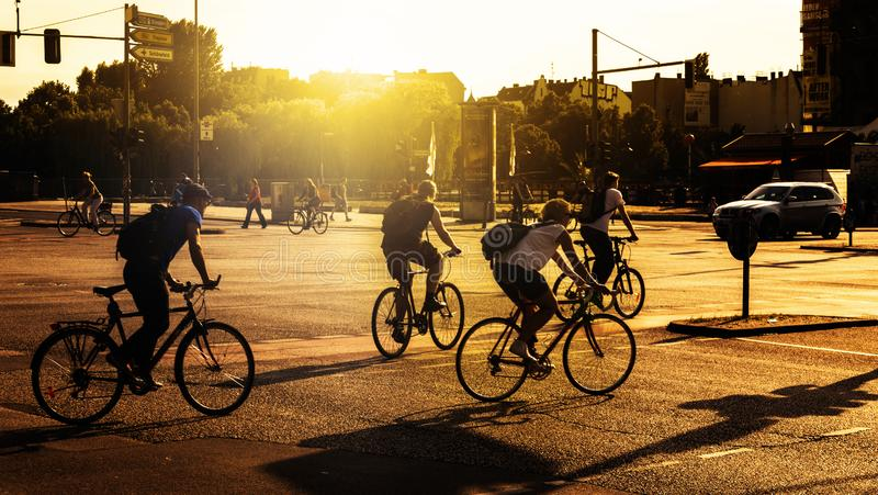 Bike riders in Berlin stock images
