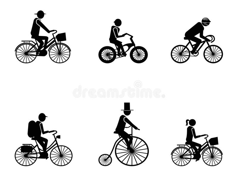 Bike Riders Silhouettes Royalty Free Stock Images