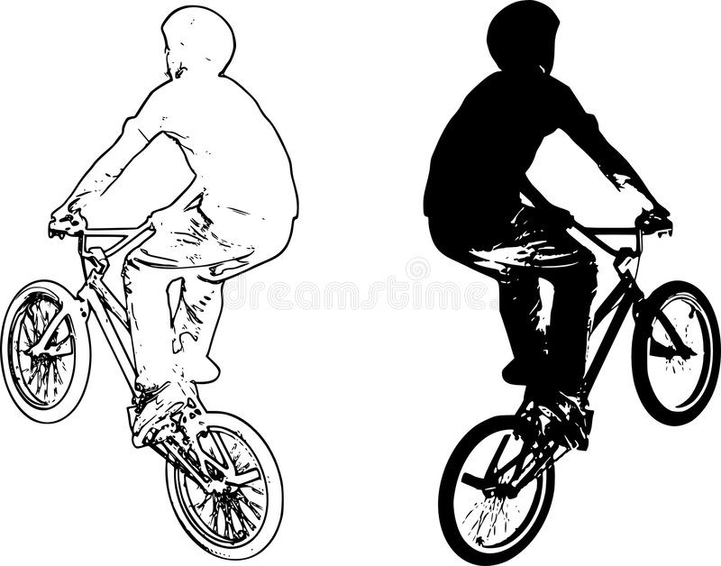 Bike riders vector. Jumping black and white stock illustration