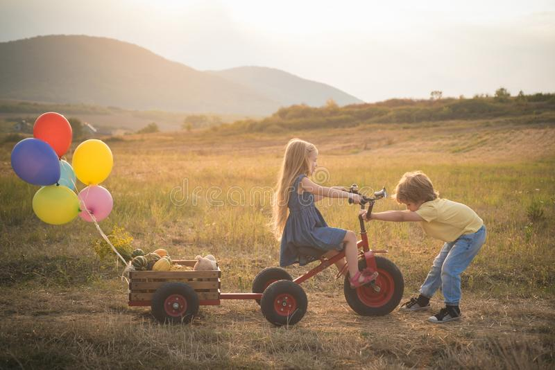 Bike riding - children on bike. Farming and agriculture cultivation. Active family leisure with kids. sweet childhood. Summer at countryside. Nature and royalty free stock photos
