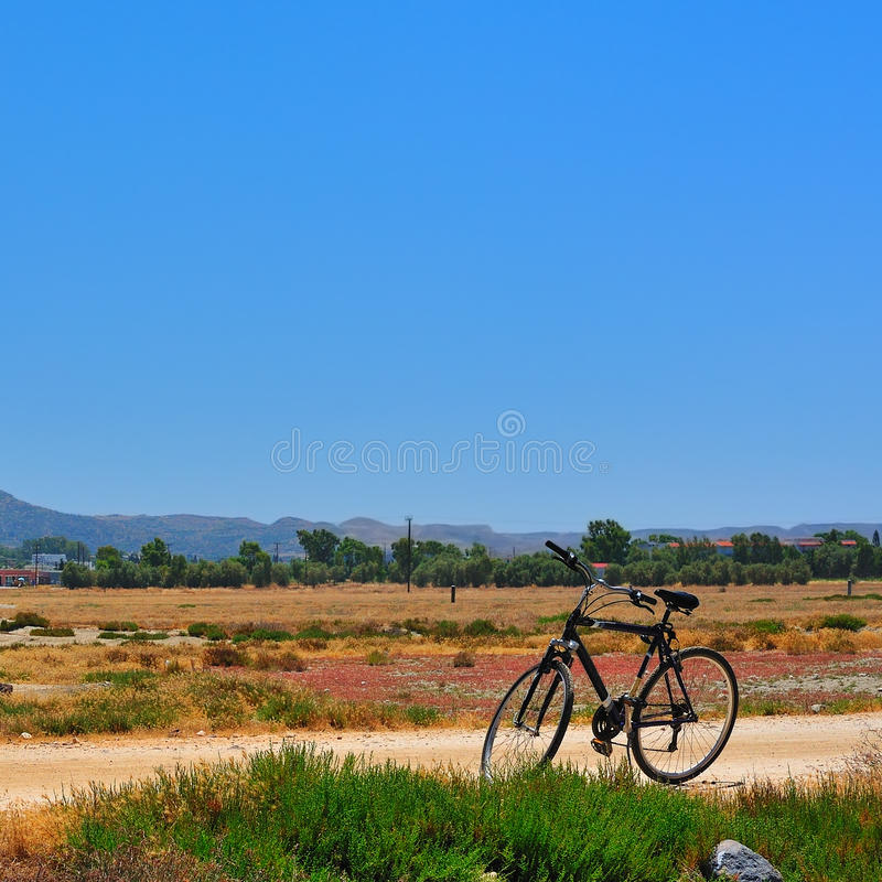 Download Bike on the road stock image. Image of field, grass, landscape - 18248835