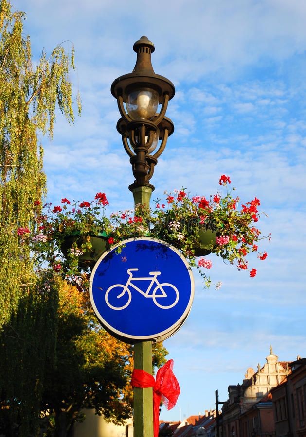 Bike road sign. In Kaunas city. Travel Lithuania, Europe stock photography