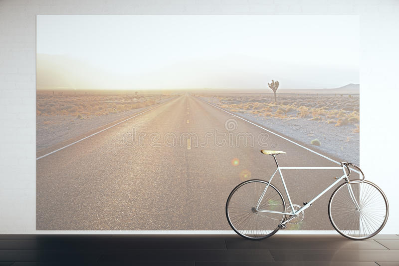 Bike in room with road picture. Bike in room with huge road picture on wall. 3D Rendering stock illustration