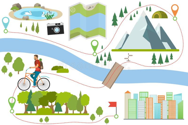 Bike route map. Riding a bike on a various outdoor locations, adventure and vacation travel on a bicycle, lifestyle activity with. Ecological transport. Outdoor vector illustration