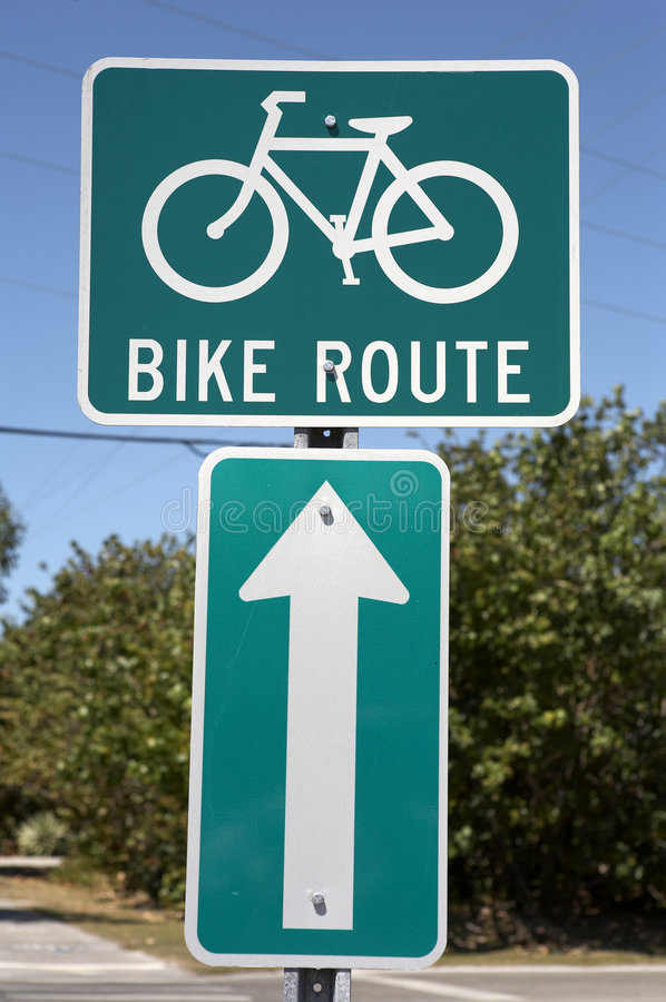 Bike route sign royalty free stock image