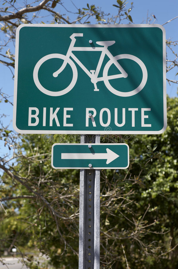 Bike route sign royalty free stock photography
