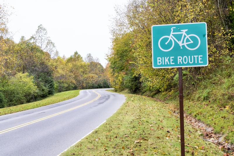 Bike route sign on Natchez Trace National Parkway stock photo