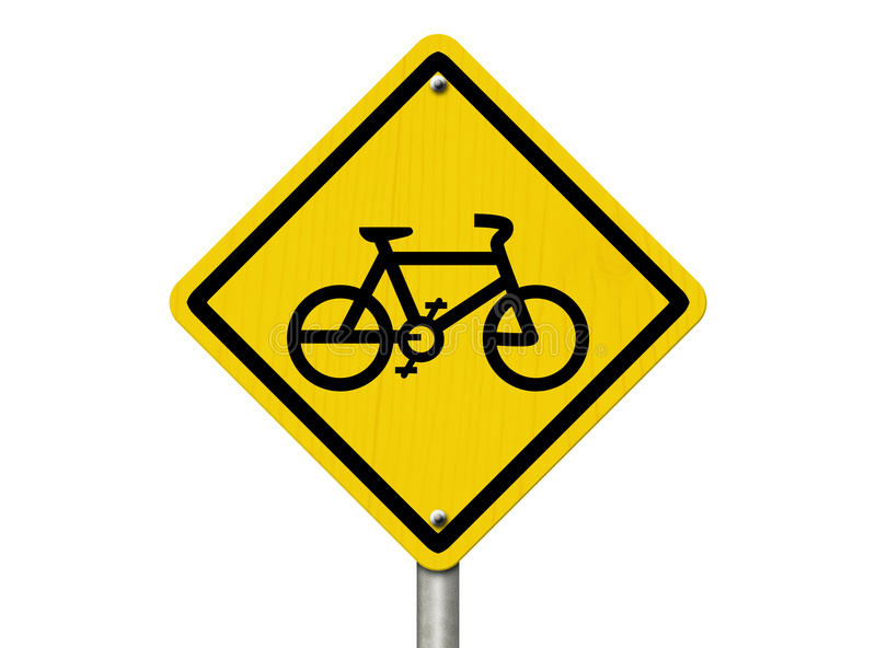 Bike Route Warning Sign royalty free stock image