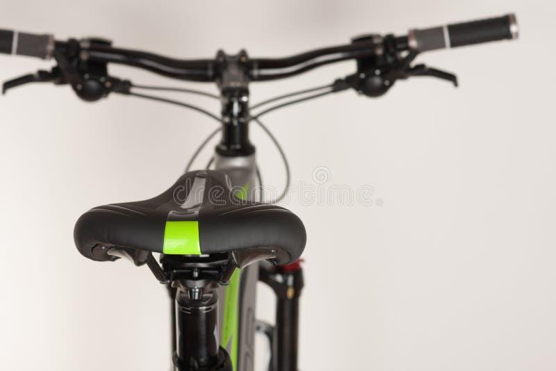 Bike saddle on white background, close up view, studio photo. Bike saddle on white background, close up view, studio photo stock images