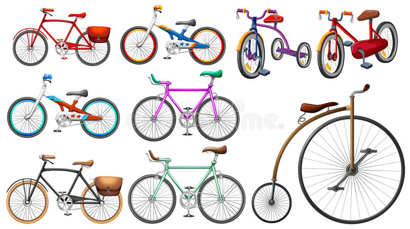 Bike set on white vector illustration