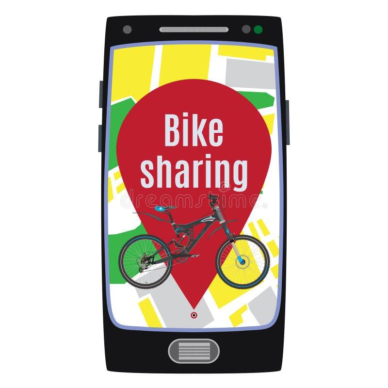 Bike sharing service concept vector flat illustration vector illustration
