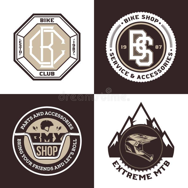 Bike shop, bmx bicycle, mountain biking logo vector illustration