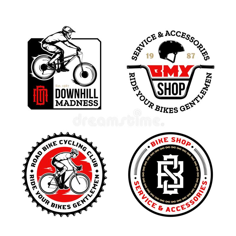 Bike shop, club, bicycle service, mountain and road biking badge. Set of vector black, red and white bike shop, bicycle service, mountain and road biking clubs royalty free illustration