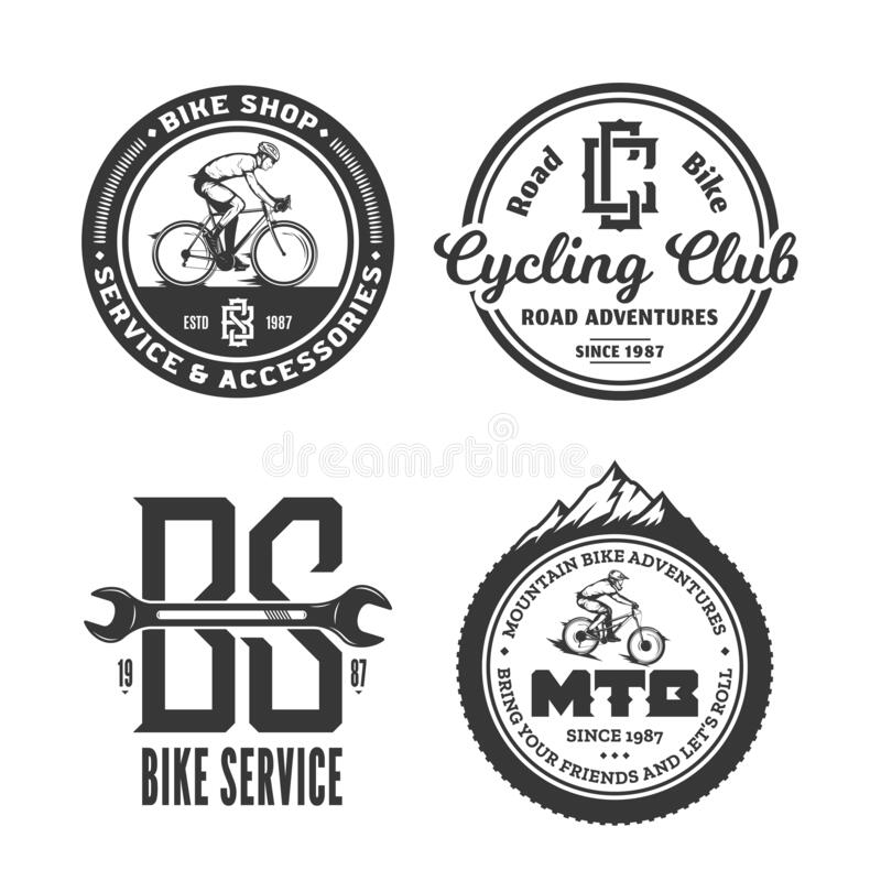 Bike shop, club, bicycle service, mountain and road biking badge. Set of vector black and white bike shop, bicycle service, mountain and road biking clubs and stock illustration