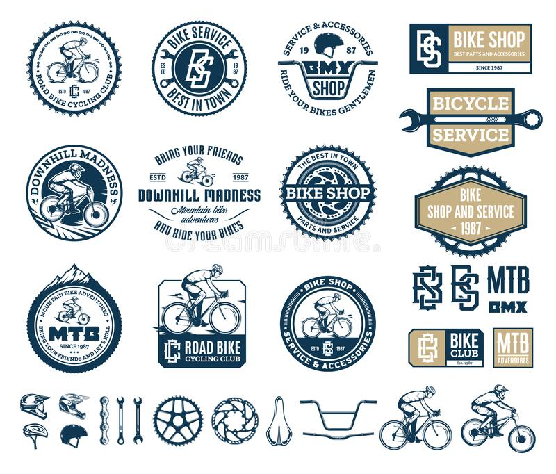 Bike shop, club, service, mountain and road biking badges and design elements. Vector bike shop, club, bicycle service, mountain and road biking badges, icons royalty free illustration