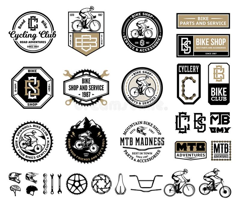 Bike shop, club, service, mountain and road biking badges and design elements. Vector bike shop, club, bicycle service, mountain and road biking badges, icons stock illustration