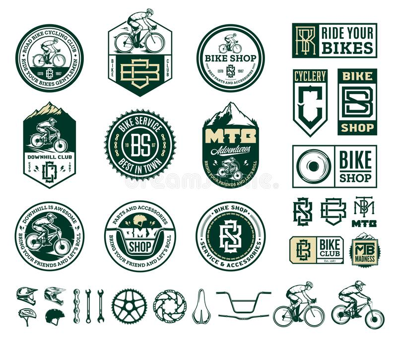 Bike shop, club, service, mountain and road biking badges and design elements. Vector bike shop, club, bicycle service, mountain and road biking badges, icons vector illustration