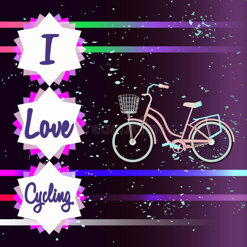 Bike silhouette on a colorful fantasy background vector illustration