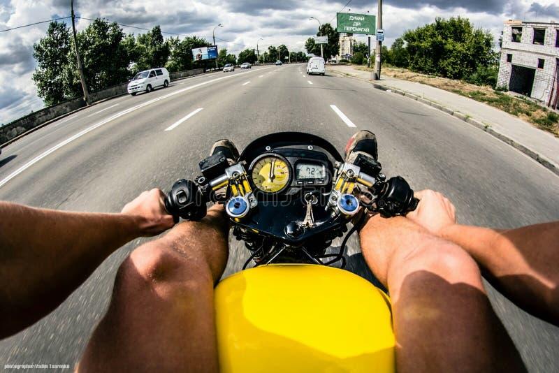 Moto. Bike speed yelow stock image