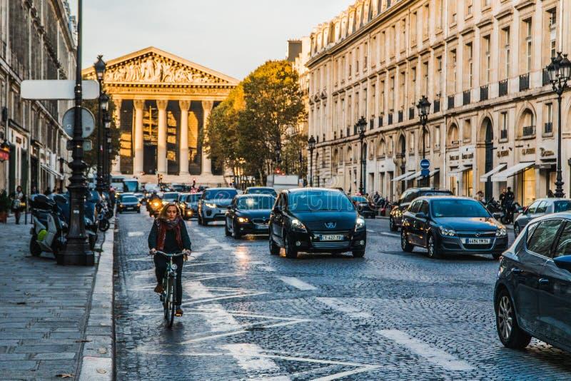 Bike on the streets of Paris. Urban scene. Bicycle on the streets of Paris. Afternoon, sunset royalty free stock photo