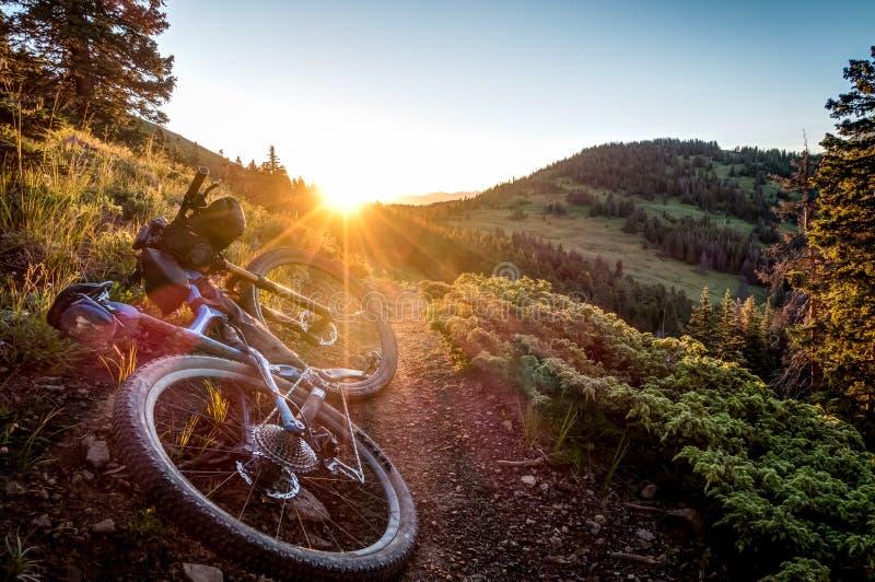 Bike at sunrise. stock photography