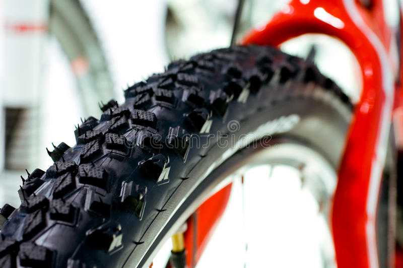 Bike Tire. Detail of a mountain bike tire displayed at a bike show stock photo