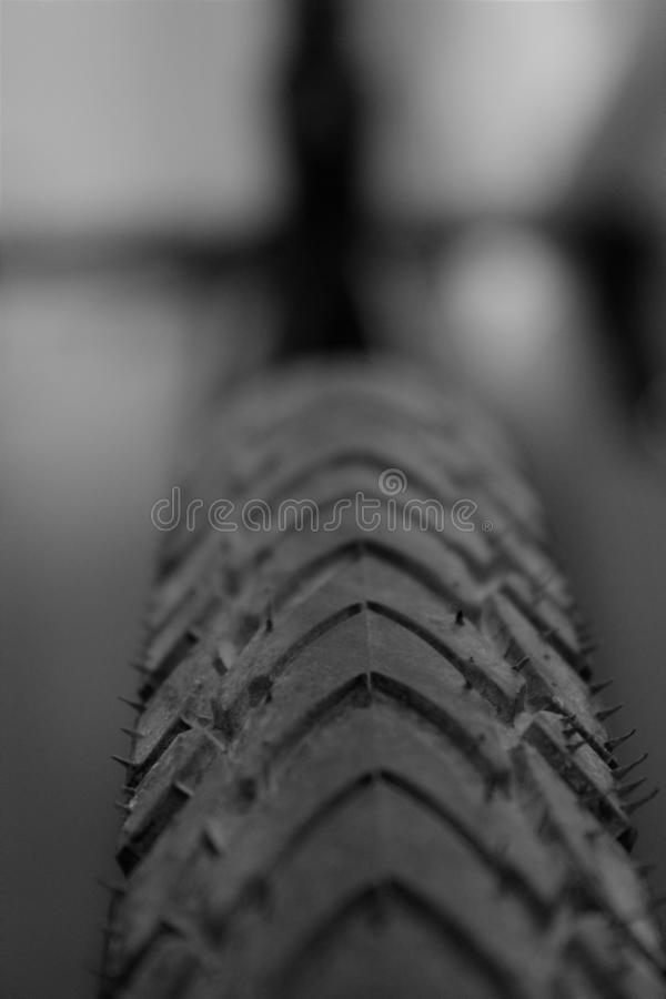 Bike tire. In black and white royalty free stock image
