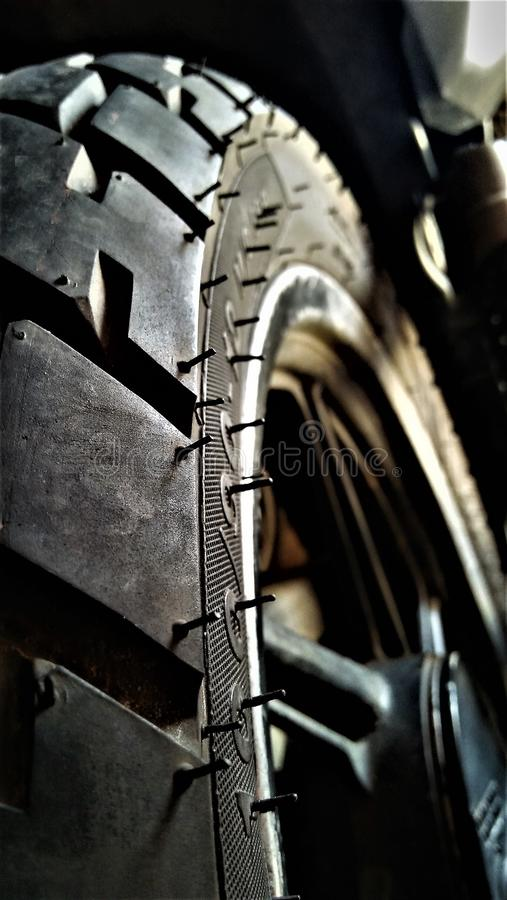 Bike tire. The bike tire is ready to burn out royalty free stock photo