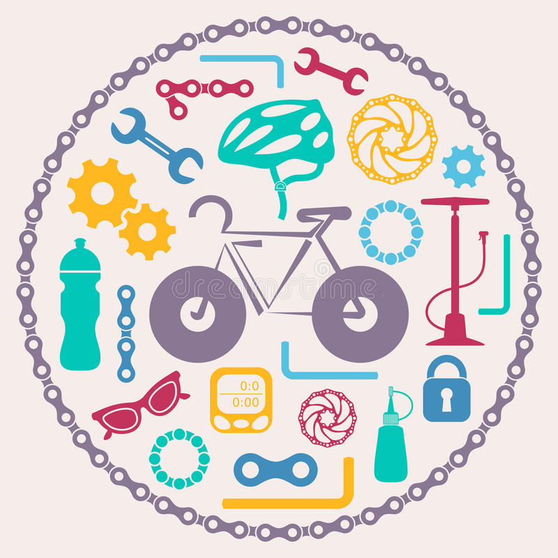 Bike tools icons royalty free illustration