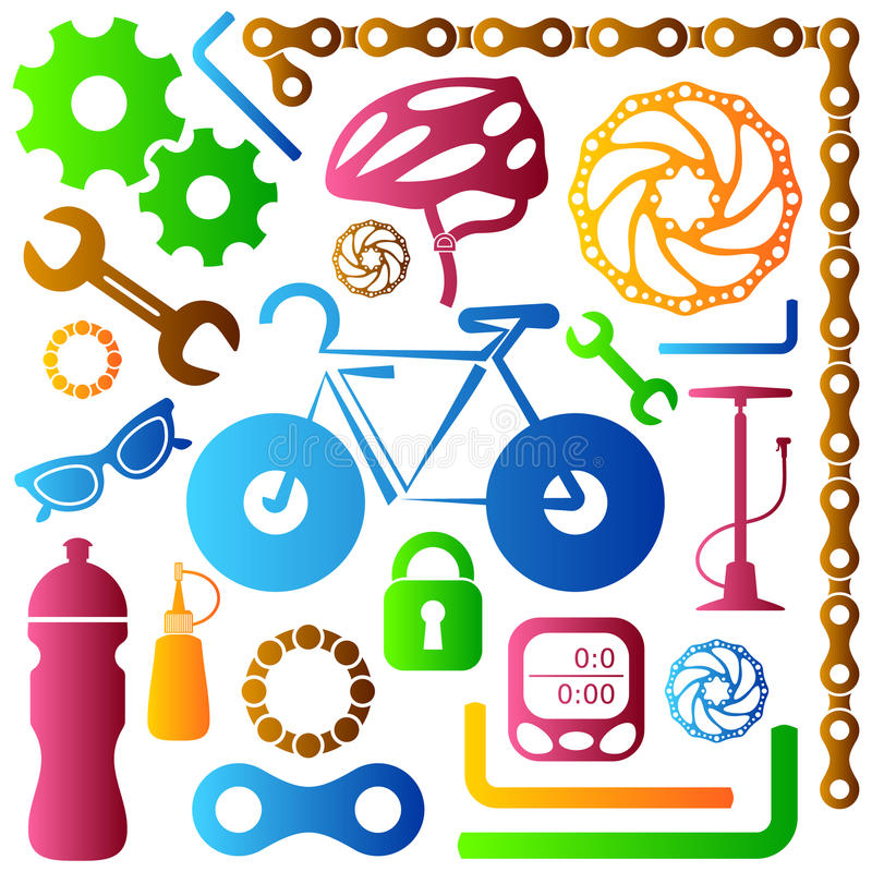 Bike tools icons stock illustration