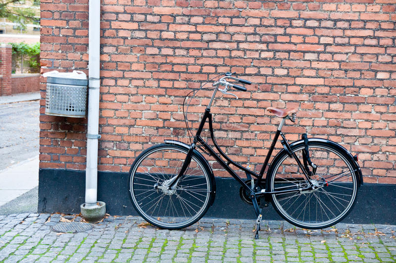Bike in town. Bike left alone in town royalty free stock image