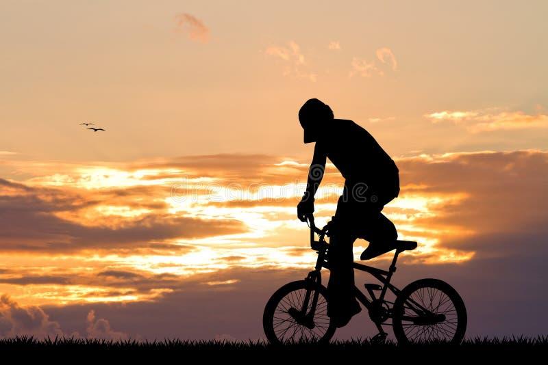 Bike trial at sunset royalty free illustration