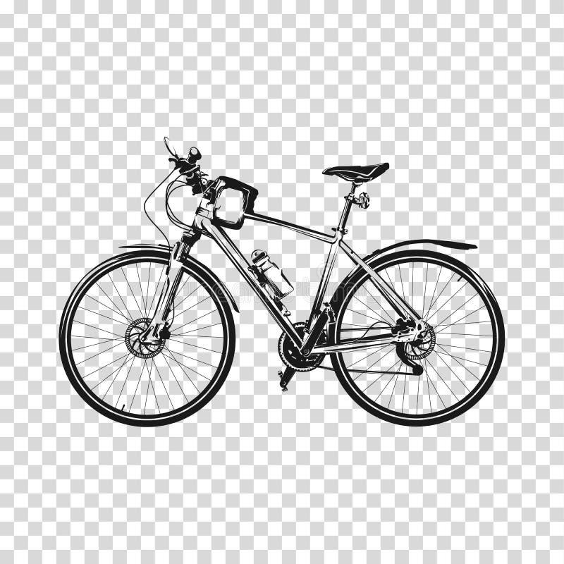 Bike um fundo transparente Arte do vetor da ilustração da silhueta da bicicleta ilustração royalty free